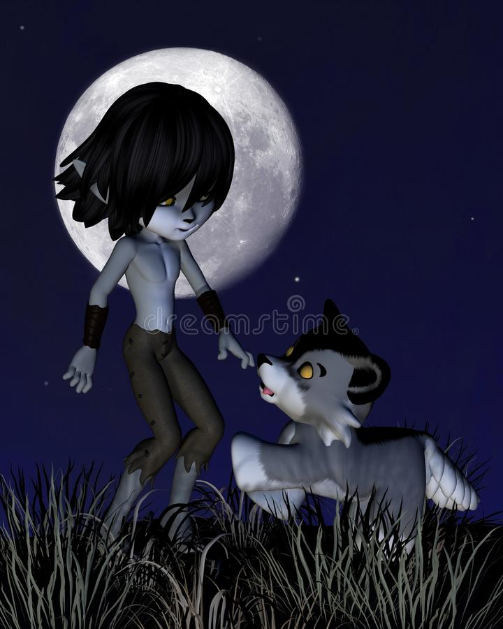 Download Toon Wolf Boy and Pet Wolf stock illustration. Image of clip - 28786075