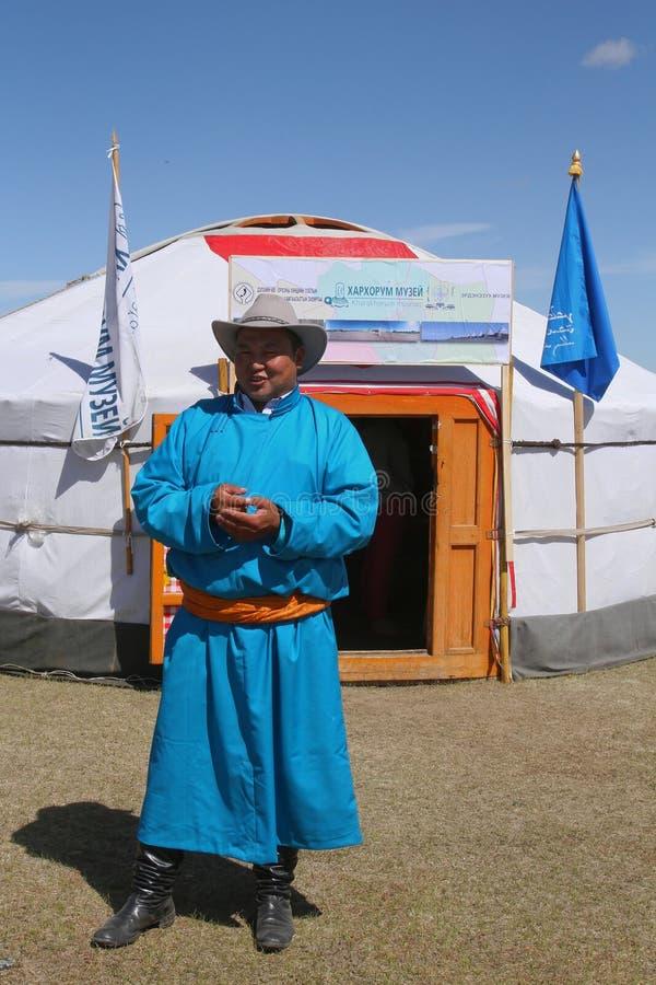 Toon in yurt voor Naadam stock foto
