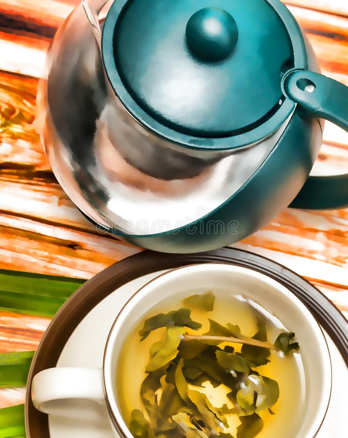 Toont de kalk Groene Theeën Vruchten Drank en Verfrissing stock foto