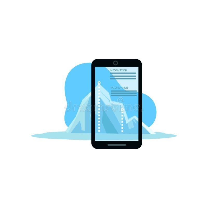 Toont de Smartphone vergrote werkelijkheid ijsberg moderne informatie stock illustratie