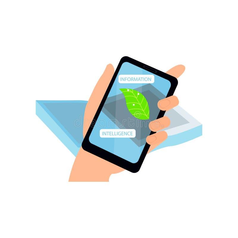 Toont de Smartphone vergrote werkelijkheid informatiebiologie van groen blad stock illustratie