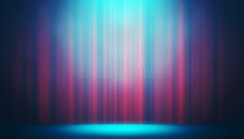 Toont het theater blauwe gordijn op het vermaakachtergrond van de stadiumstudio stock foto's