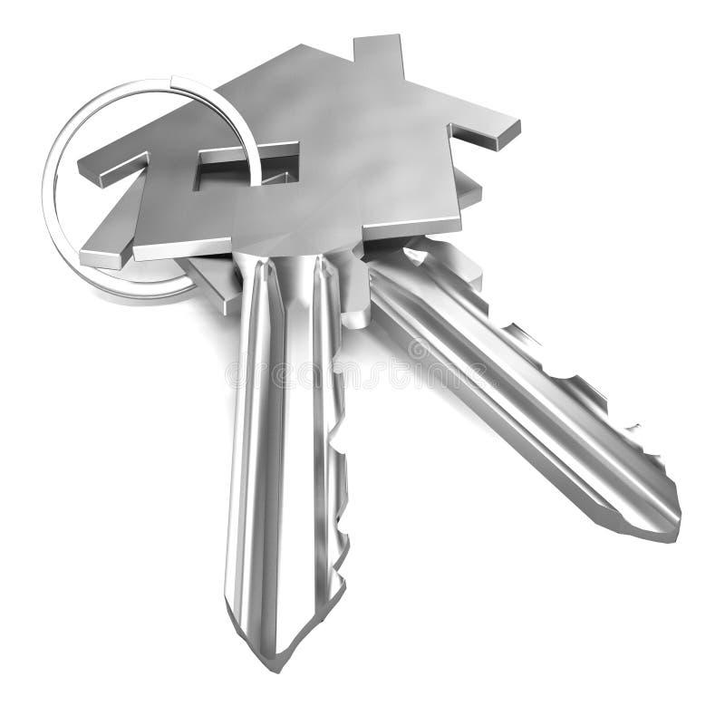 Toont Huisveiligheid of de Gesloten huissleutels stock illustratie