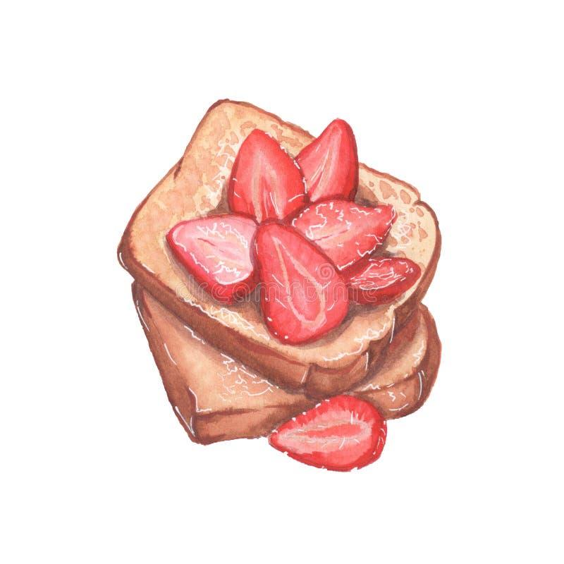 Toost met aardbeien stock illustratie