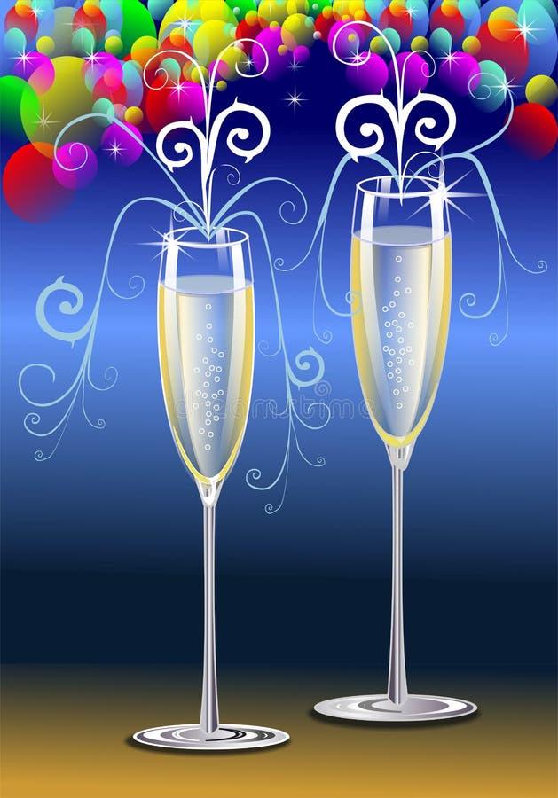 Toost met Champagne royalty-vrije illustratie