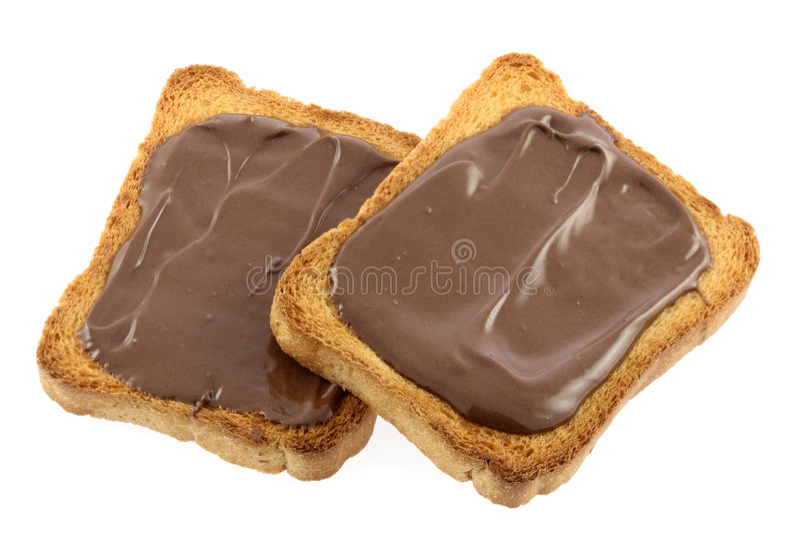 Toost met chocolade royalty-vrije stock foto's