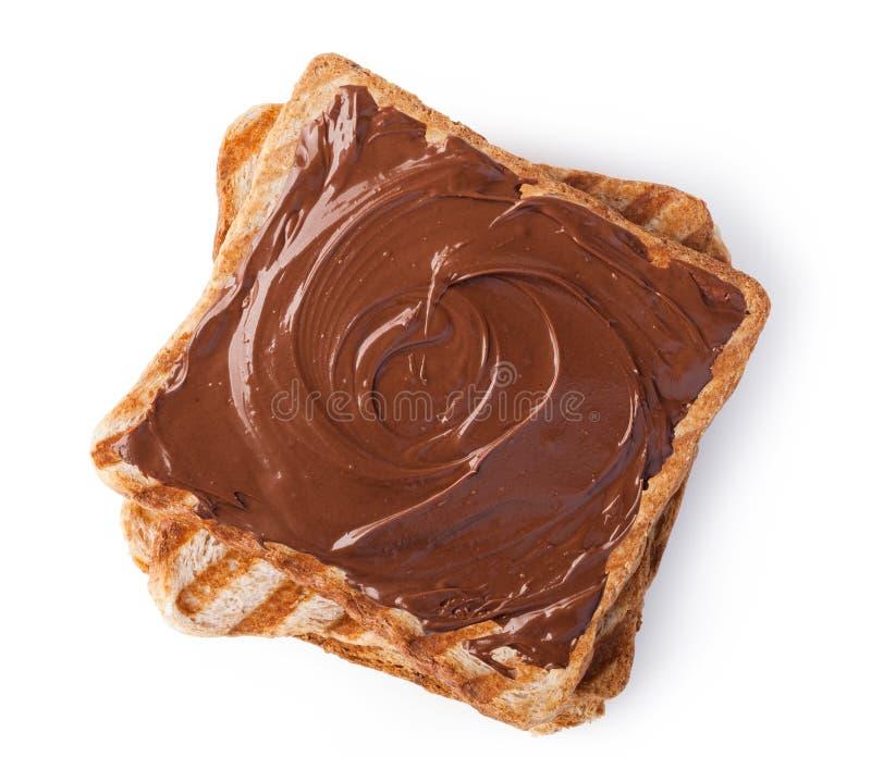 Toost met chocoladeroom royalty-vrije stock afbeelding
