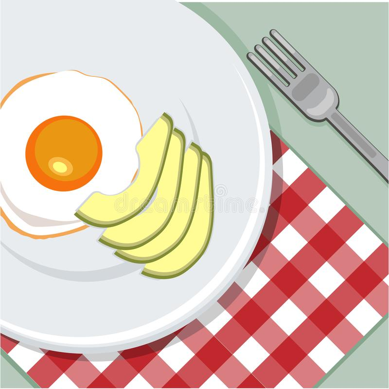 Toost met ei en avocado, hoogste mening wordt gebakken die Vers gebakken heerlijke avocado met binnen ei, gezonde maaltijd Rood v stock foto