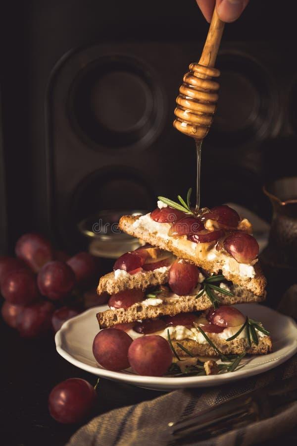 Toosts met geitkaas, druiven, noten en honing royalty-vrije stock afbeeldingen