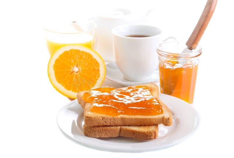 Toosts met oranje marmelade, stock fotografie