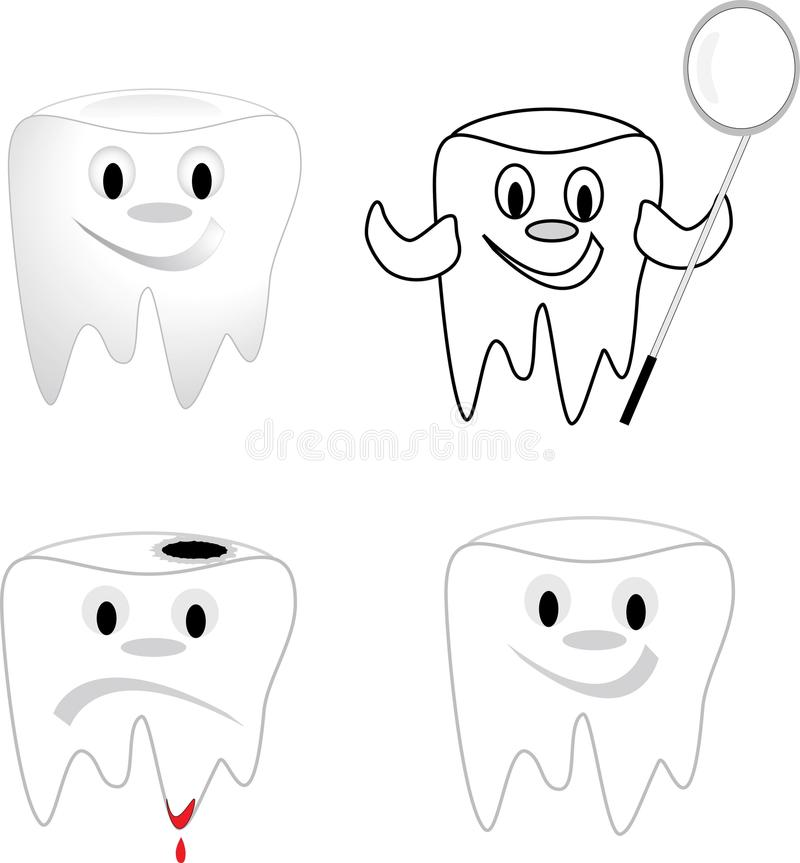 Tooth. With dental caries, dissatisfied stock illustration