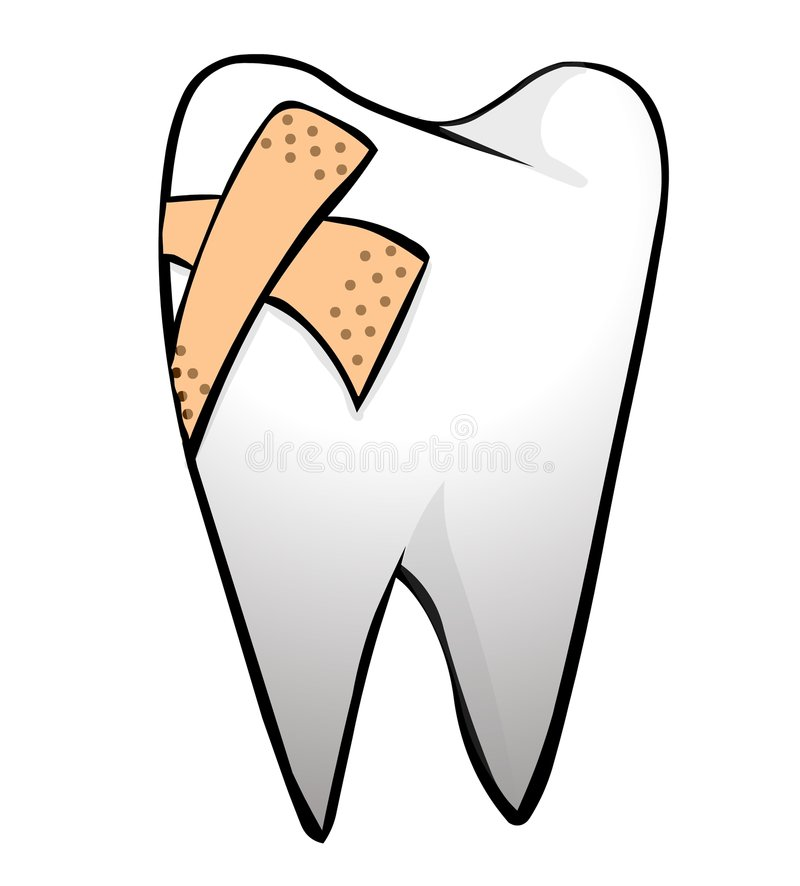 Tooth. With plaster on it vector illustration