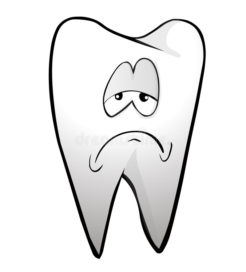 Tooth. A tooth with sad face stock illustration