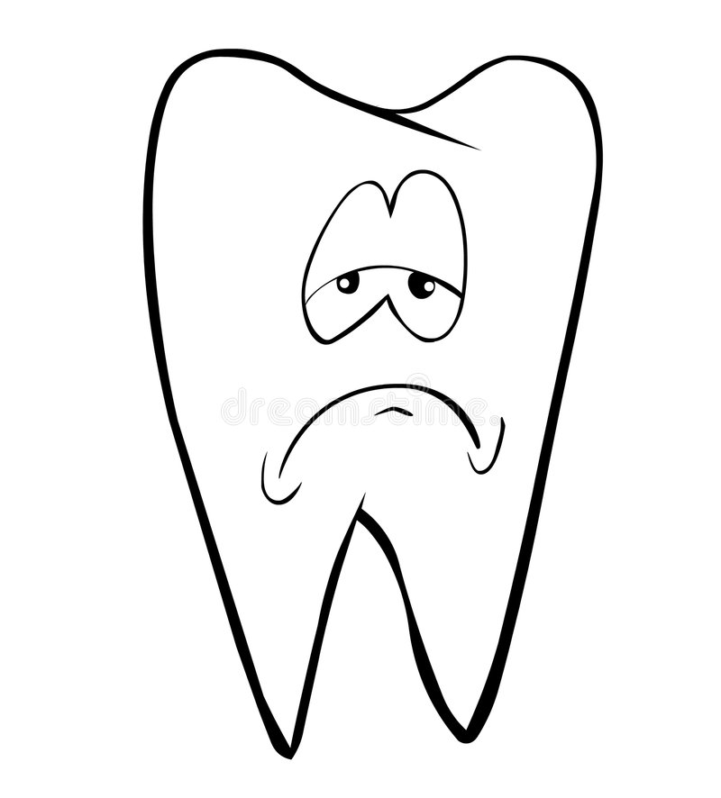 Tooth. A tooth with sad face vector illustration