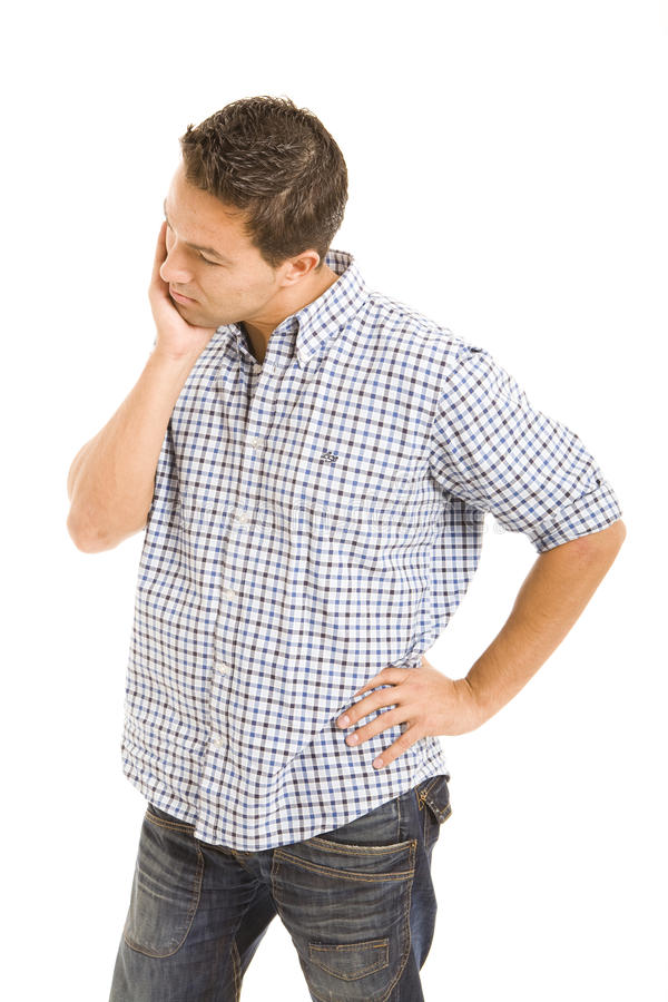 Tooth ache. Man holding hand on face because of toothache, isolate on white background stock photos