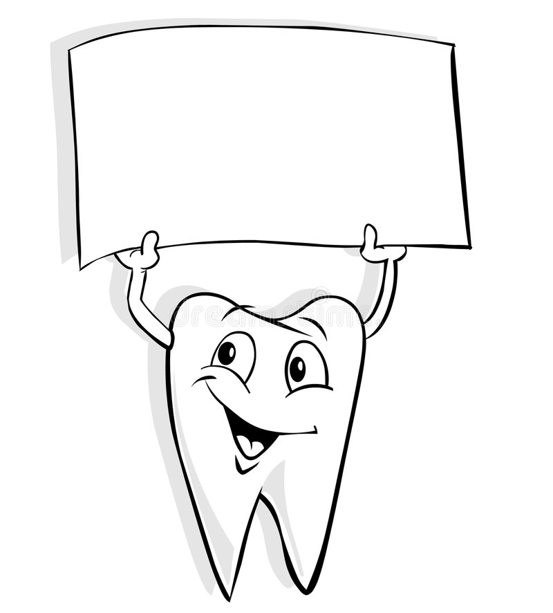 Tooth with banner. Cartoon tooth is holding a banner vector illustration