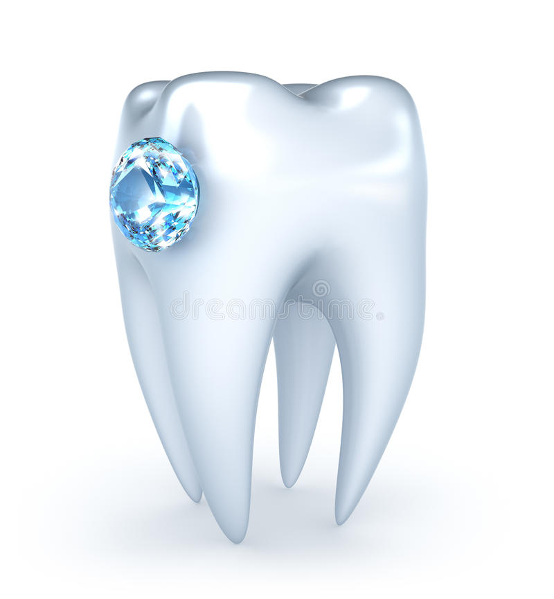 Tooth with blue diamond vector illustration