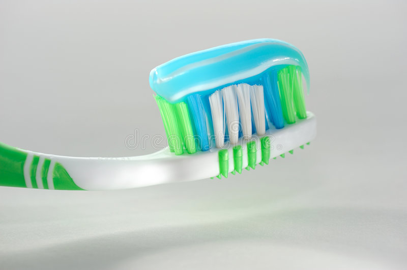 Tooth-brush. With paste gel - close up stock photo