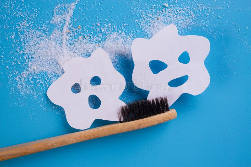 Tooth brush on blue background. With bacteria on it stock photo