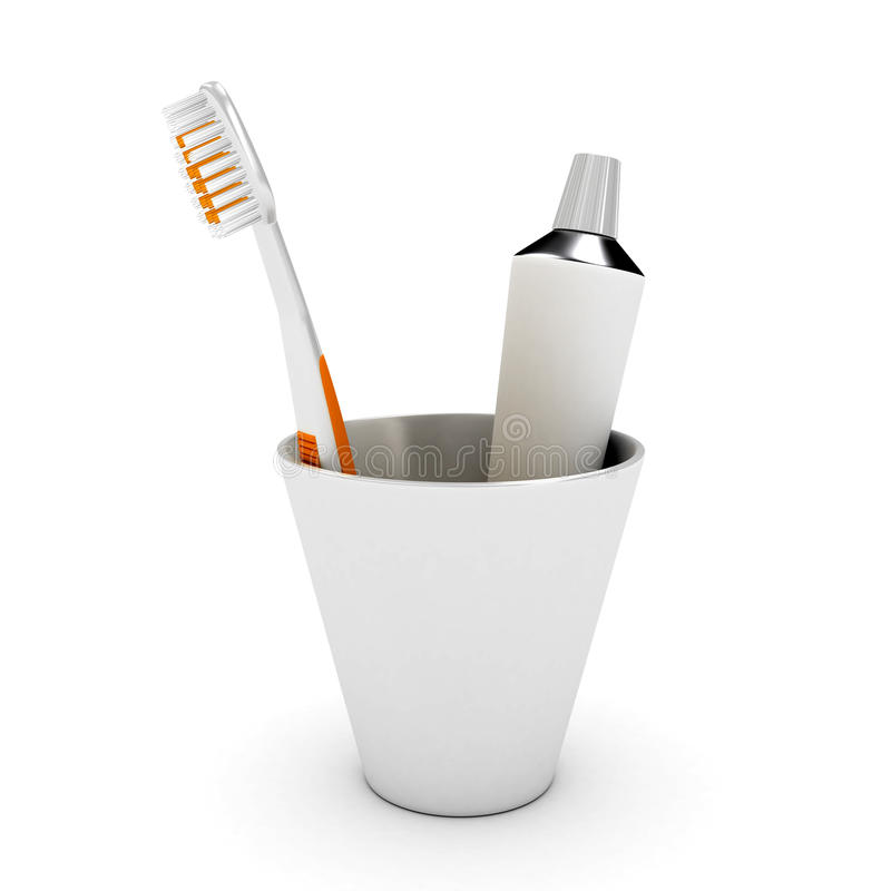 Tooth Brush And Paste In Cap Stock Image