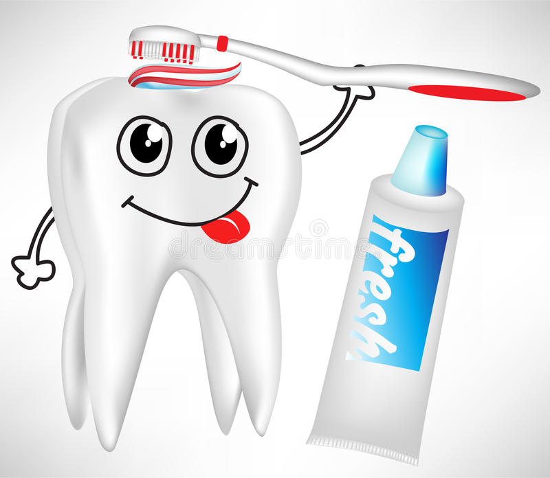 Tooth Brushing Itself With Toothpaste Royalty Free Stock Images