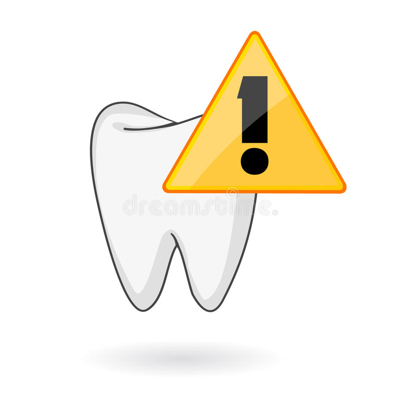 Tooth care alert symbol. Teeth health care symbol with comic cartoon tooth and alert symbol vector illustration