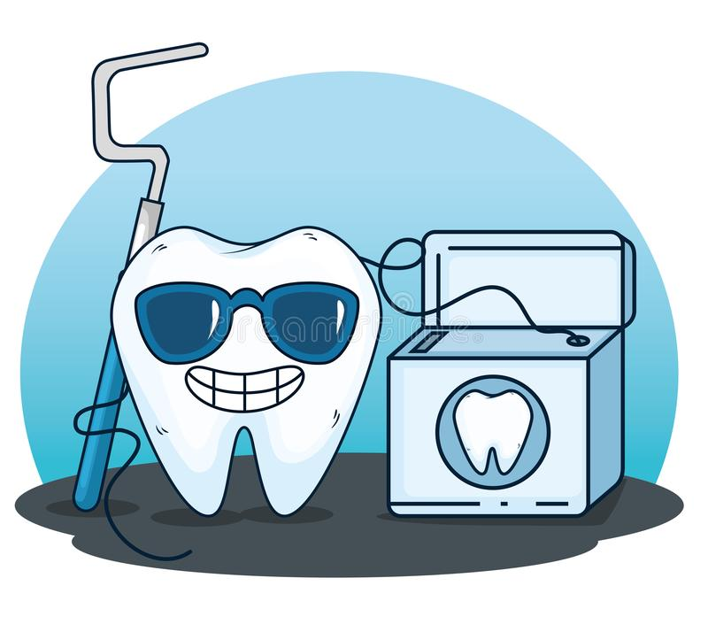 Tooth care with excavator tool and dental floss. Vector illustration vector illustration