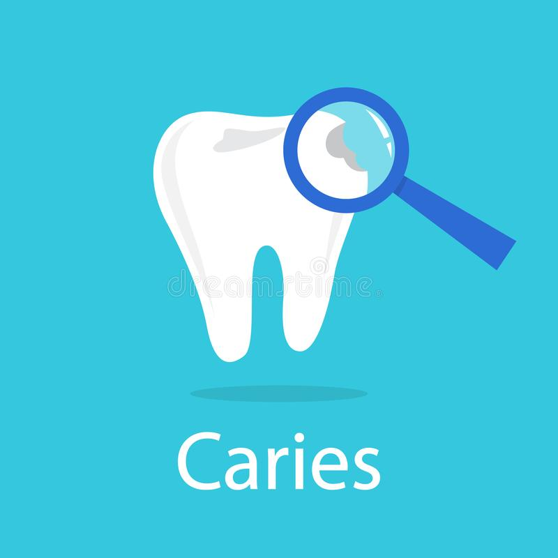 Tooth with a caries. Idea of dental and oral care stock illustration