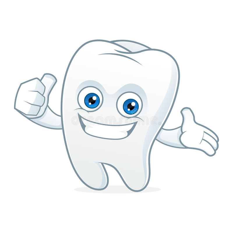 Tooth cartoon mascot clean and happy royalty free illustration