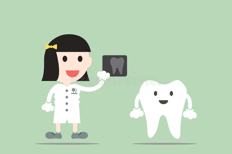 Tooth cartoon vector, female dentist hold dental x-ray film. With happy teeth vector illustration