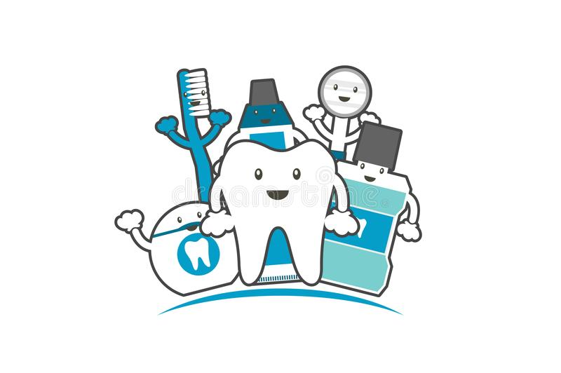 Happy family of healthy teeth and friend, dental care concept. Tooth cartoon vector flat style for design, funny best friend - happy healthy teeth family with royalty free illustration