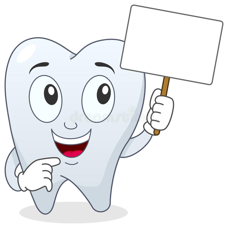 Tooth Character Holding Blank Banner stock illustration
