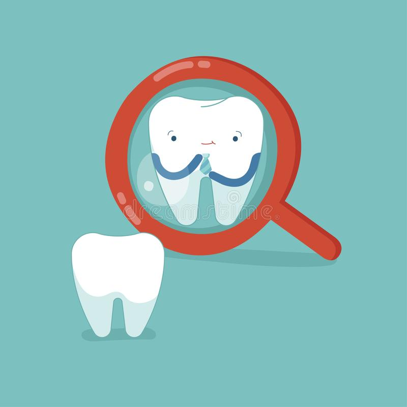 Tooth check up self for good looking, dental concept stock illustration