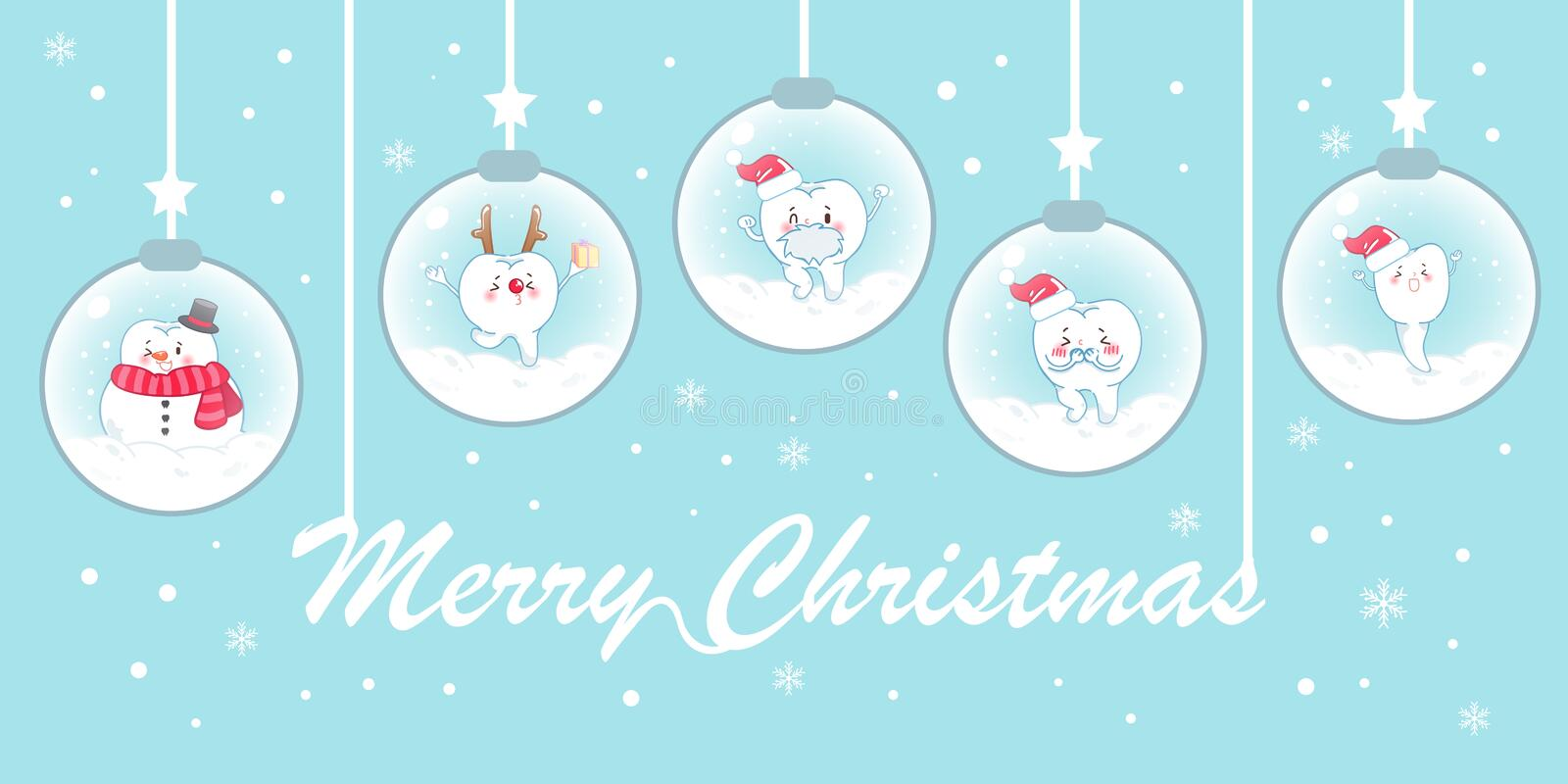 Tooth with christmas vector illustration