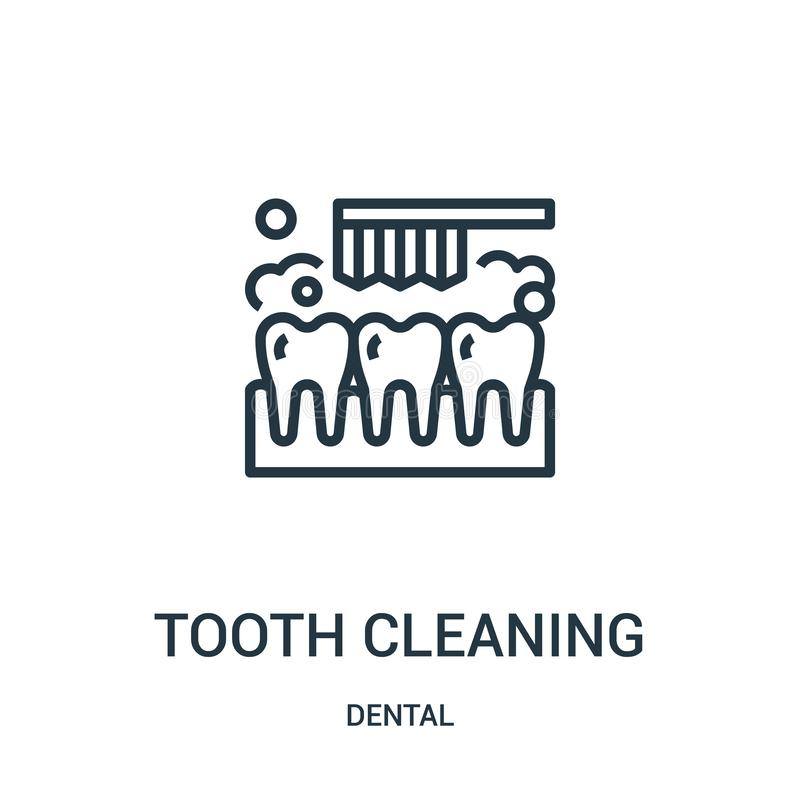 Tooth cleaning icon vector from dental collection. Thin line tooth cleaning outline icon vector illustration. Linear symbol. For use on web and mobile apps vector illustration