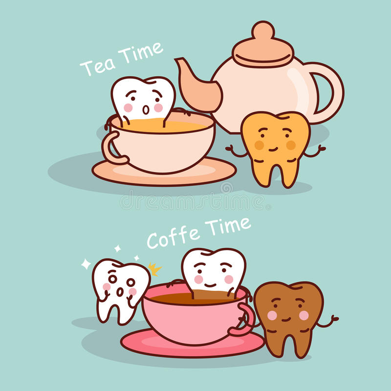 Tooth with coffee and tea vector illustration