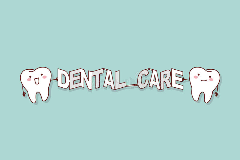 Tooth with dental care word. Cartoon tooth with dental care word paper, great for dental care concept vector illustration