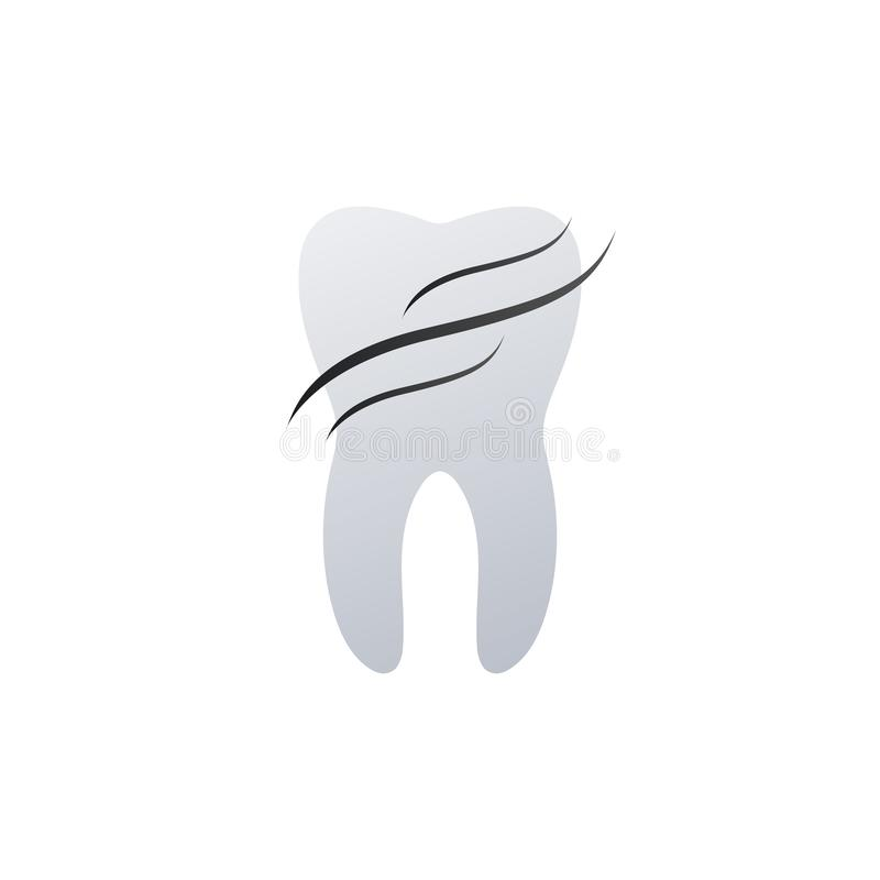 Tooth dental logo design with waves represents health and protection. Medical care concept. vector illustration isolated on white stock illustration