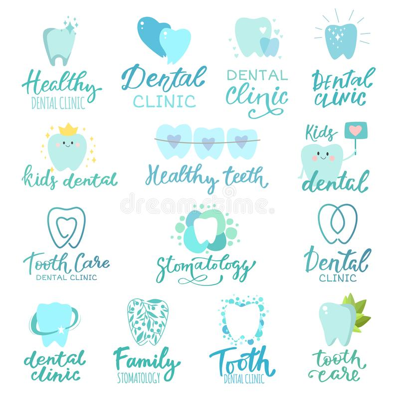 Tooth dental logo vector dentist clinic lettering toothcare icon stomatology text letter dentistry care logotype set vector illustration