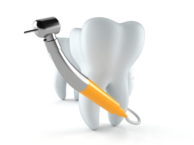 Tooth with dental tool stock illustration