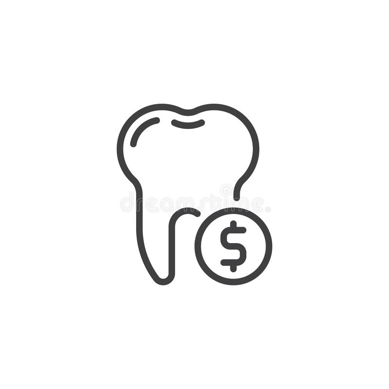 Tooth and dollar coin line icon royalty free illustration