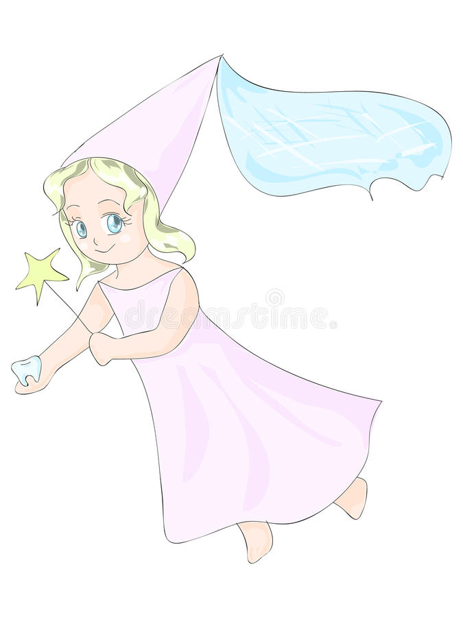 Tooth fairy. With a magic wand in her hand royalty free illustration