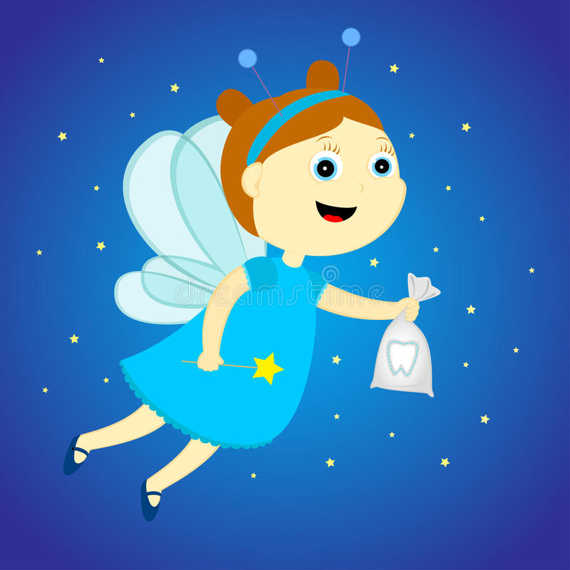 Tooth fairy. With a bag in his hands stock illustration
