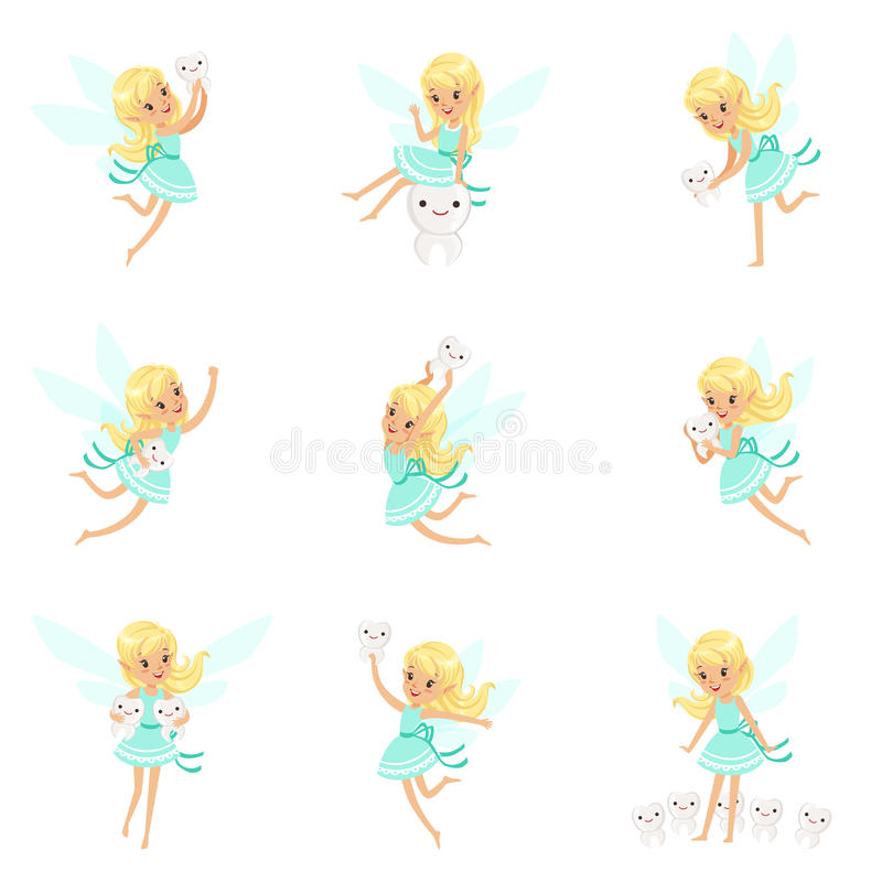 Tooth Fairy, Blond Little Girl In Blue Dress With Wings And Baby Teeth Set Of Cute Girly Cartoon Fantastic Fairy-Tale. Creature. Kids Story Character Fantasy royalty free illustration