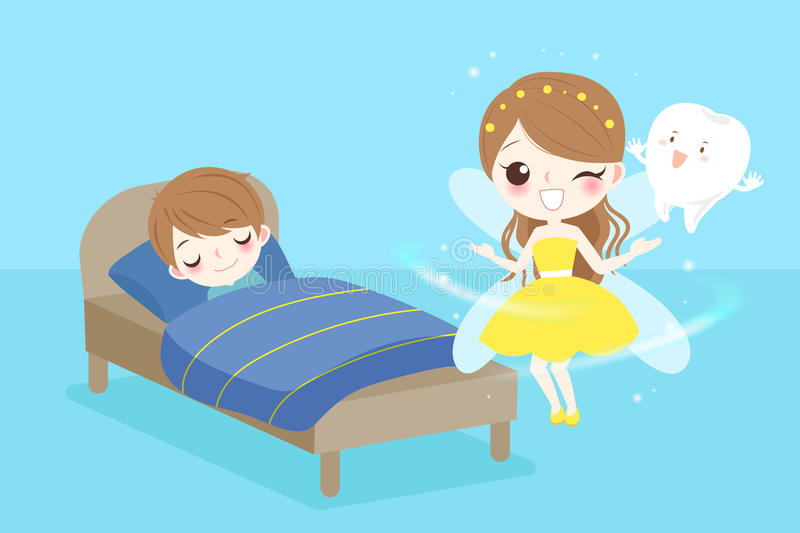 Tooth fairy with boy. Cute cartoon tooth fairy with boy sleeping on the bad vector illustration