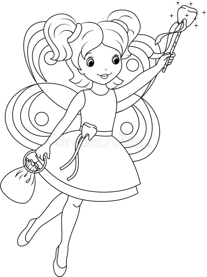 Tooth fairy coloring page stock vector Illustration of page 42142800