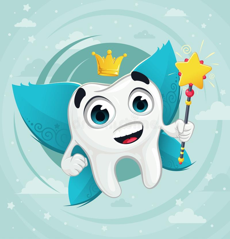 Tooth fairy. Cute cartoon tooth fairy with magic wand royalty free illustration