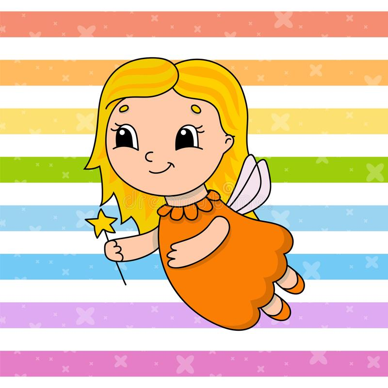 Tooth Fairy. Cute flat vector illustration in childish cartoon style. Funny character. Isolated on white background royalty free illustration