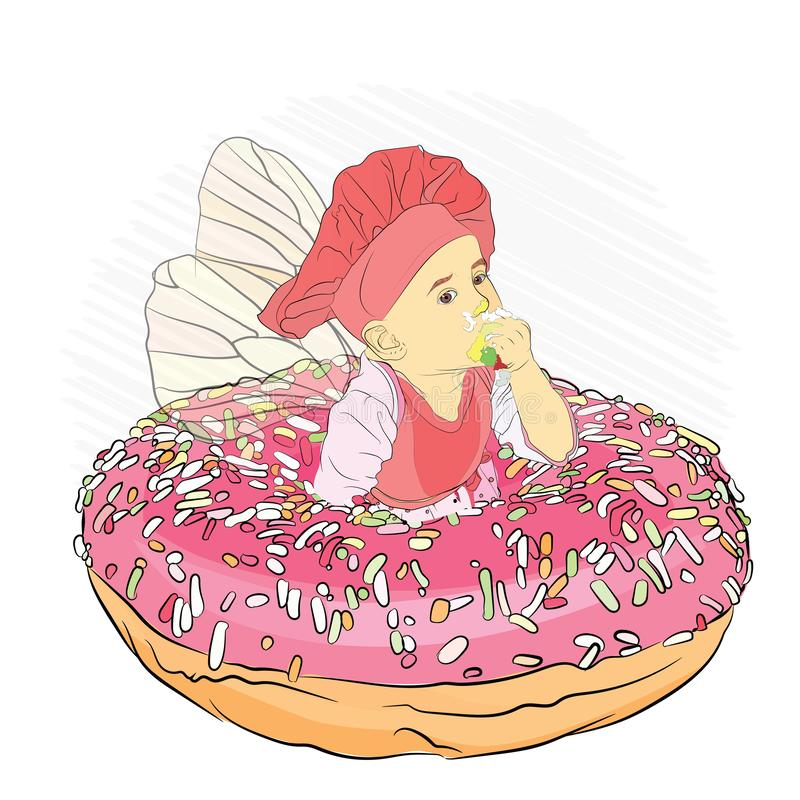 tooth fairy eating donut pink h colored sprinkling vector illustration