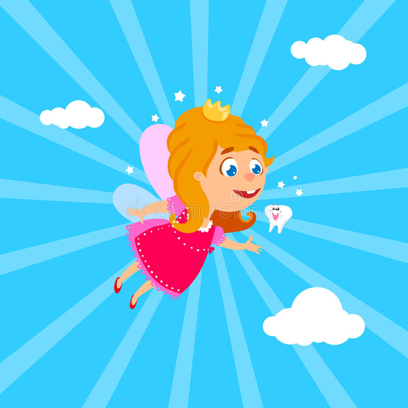 Tooth Fairy flying at sky vector illustration